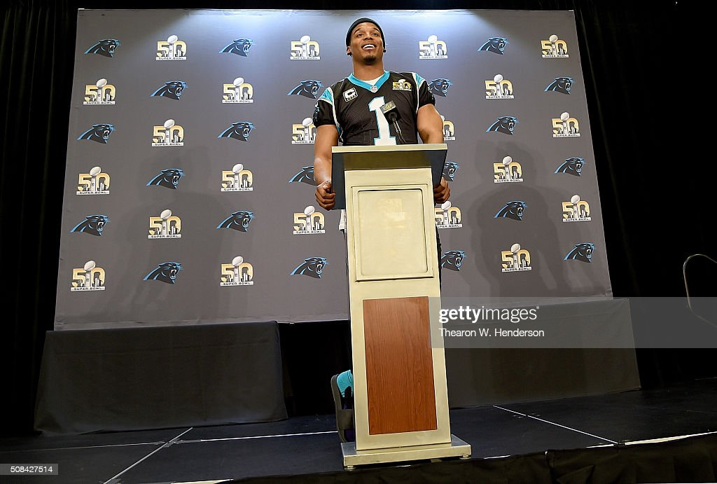 Quarterback <a gi-track='captionPersonalityLinkClicked' href=/galleries/search?phrase=Cam+Newton+-+American+Football+Quarterback&family=editorial&specificpeople=4516761 ng-click='$event.stopPropagation()'>Cam Newton</a> #1 of the Carolina Panther addresses the media during media availability prior to Super Bowl 50 at the San Jose Convention Center/ San Jose Marriott on February 3, 2016 in San Jose, California.
