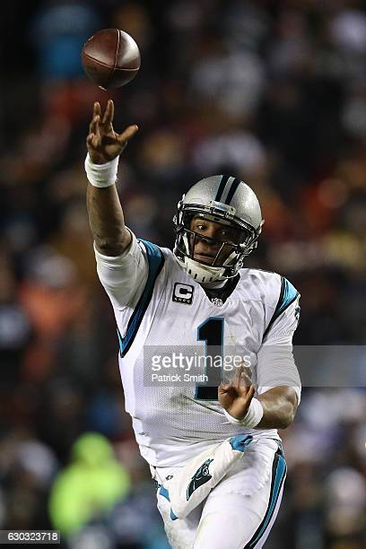 Quarterback Cam Newton of the Carolina Panthers in action against the Washington Redskins at FedExField on December 19 2016 in Landover Maryland