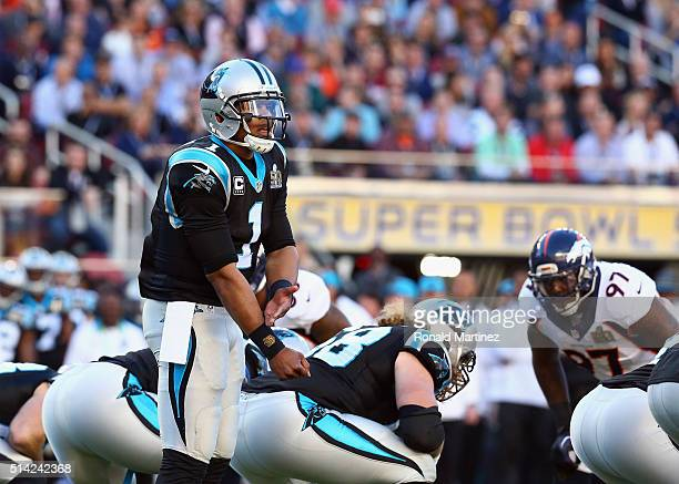 Quarterback Cam Newton of the Carolina Panthers looks on against the Denver Broncos during Super Bowl 50 at Levi's Stadium on February 7 2016 in...