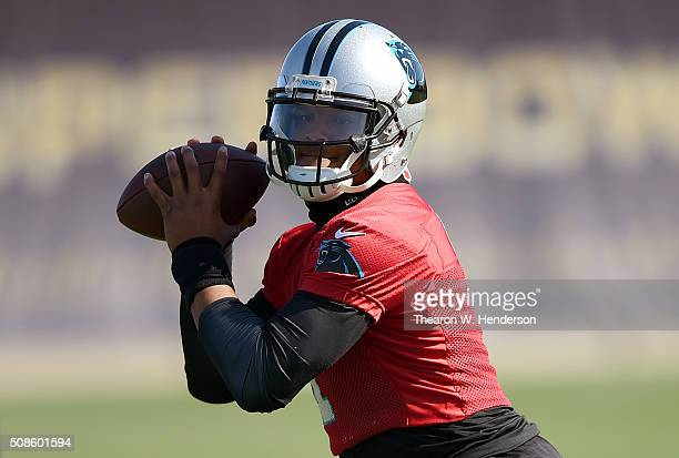 Quarterback Cam Newton of the Carolina Panthers participates in drills during practice prior to Super Bowl 50 at San Jose State University on...