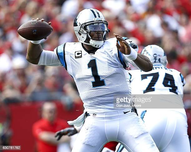 Quarterback Cam Newton of the Carolina Panthers passes during the game against the Tampa Bay Buccaneers at Raymond James Stadium on January 1 2017 in...