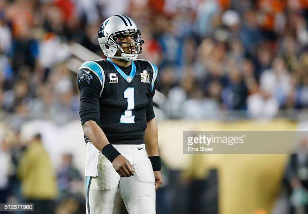 Quarterback Cam Newton of the Carolina Panthers reacts while playing against the Denver Broncos during Super Bowl 50 at Levi's Stadium on February 7...