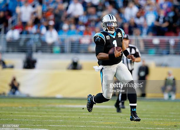 Quarterback Cam Newton of the Carolina Panthers runs with the ball against the Denver Broncos during Super Bowl 50 at Levi's Stadium on February 7...