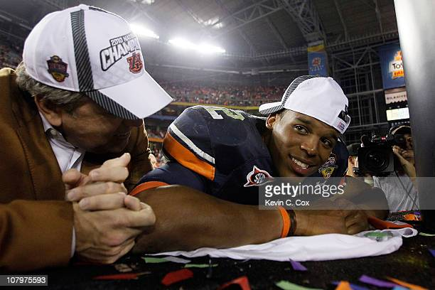 Quarterback Cameron Newton of the Auburn Tigers celebrates the Tigers 2219 victory against the Oregon Ducks in the Tostitos BCS National Championship...