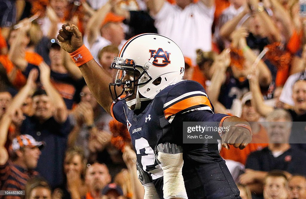 Quarterback Cameron Newton #2 of the Auburn Tigers reacts after scoring a rushing touchdown against the South Carolina Gamecocks at Jordan-Hare Stadium on September 25, 2010 in Auburn, Alabama.