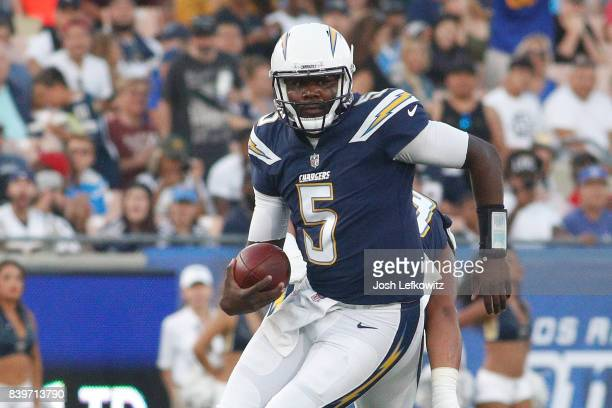 Quarterback Cardale Jones of the Los Angeles Chargers runs the ball during the preseason game between the Los Angeles Rams and Los Angeles Chargers...