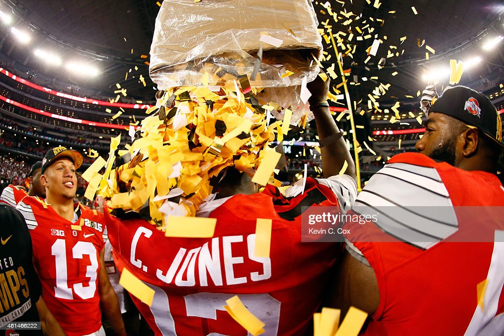 Quarterback Cardale Jones #12 of the Ohio State Buckeyes celebrates after defeating the Oregon Ducks 42 to 20 in the College Football Playoff National Championship Game at AT&T Stadium on January 12, 2015 in Arlington, Texas.