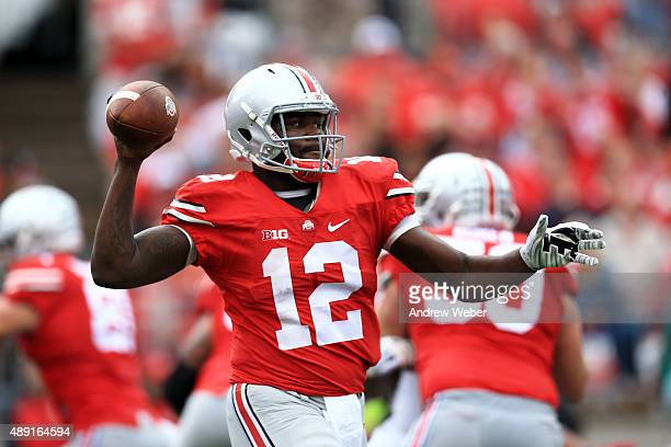 Quarterback Cardale Jones of the Ohio State Buckeyes throws a pass in the second quarter against the Northern Illinois Huskies at Ohio Stadium on...