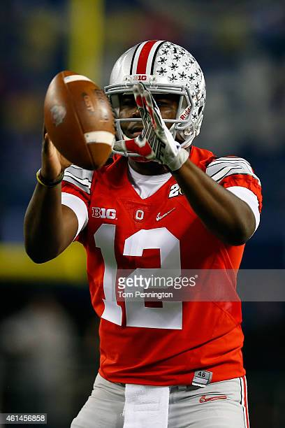 Quarterback Cardale Jones of the Ohio State Buckeyes warms up before taking on the Oregon Ducks in the College Football Playoff National Championship...
