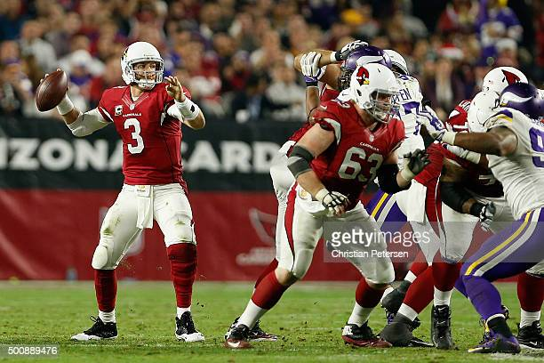 Quarterback Carson Palmer of the Arizona Cardinals drops back to pass during the NFL game against the Minnesota Vikings at the University of Phoenix...