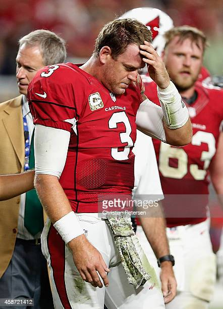 Quarterback Carson Palmer of the Arizona Cardinals is helped off the field after being injured in the fourth quarter of the NFL game against the St...