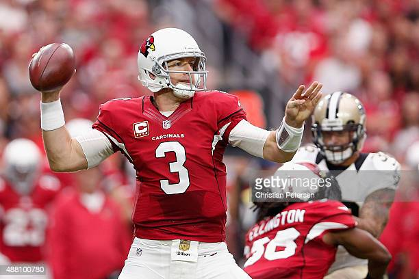 Quarterback Carson Palmer of the Arizona Cardinals throws a pass during the first half of the NFL game against the New Orleans Saints at the...