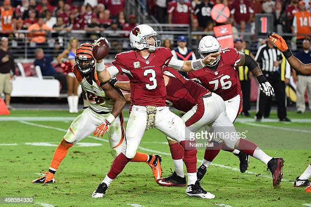 Quarterback Carson Palmer of the Arizona Cardinals throws a pass during the fourth quarter of the NFL game against the Cincinnati Bengals at...