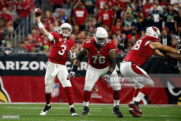 Quarterback Carson Palmer of the Arizona Cardinals throws a pass during the third quarter of the NFL game against the Seattle Seahawks at the...