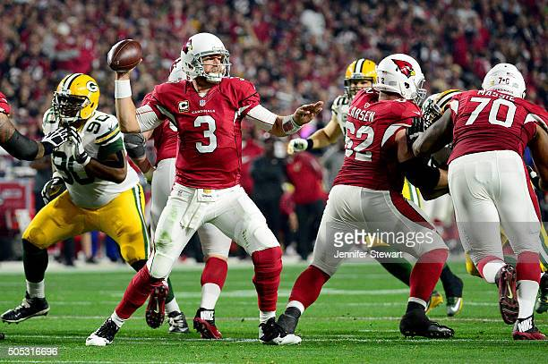 Quarterback Carson Palmer of the Arizona Cardinals throws the ball in the second half against the Green Bay Packers in the NFC Divisional Playoff...