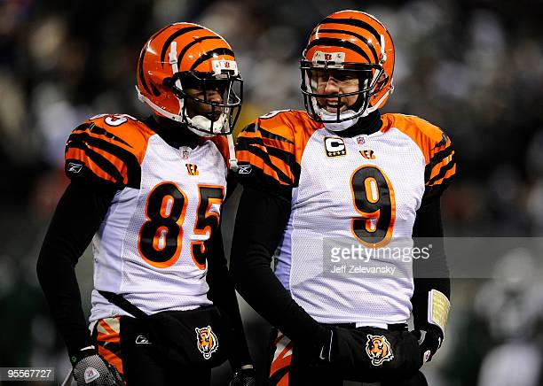 Quarterback Carson Palmer of the Cincinnati Bengals talks with teammate Chad Ochocinco during the game against the New York Jets at Giants Stadium on...
