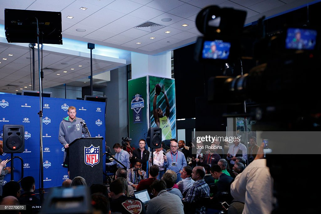 Quarterback Carson Wentz of North Dakota State speaks to the media during the 2016 NFL Scouting Combine at Lucas Oil Stadium on February 25 2016 in...