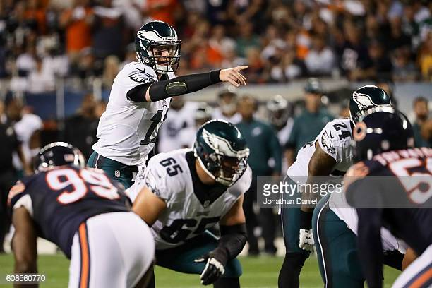 Quarterback Carson Wentz of the Philadelphia Eagles calls out a play in the first quarter against the Chicago Bears at Soldier Field on September 19...