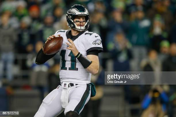 Quarterback Carson Wentz of the Philadelphia Eagles drops back to pass against the Seattle Seahawks at CenturyLink Field on December 3 2017 in...