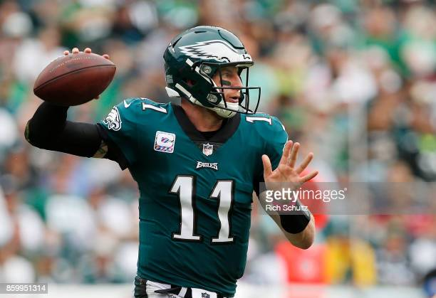 Quarterback Carson Wentz of the Philadelphia Eagles during the second half of a game against the Arizona Cardinals at Lincoln Financial Field on...