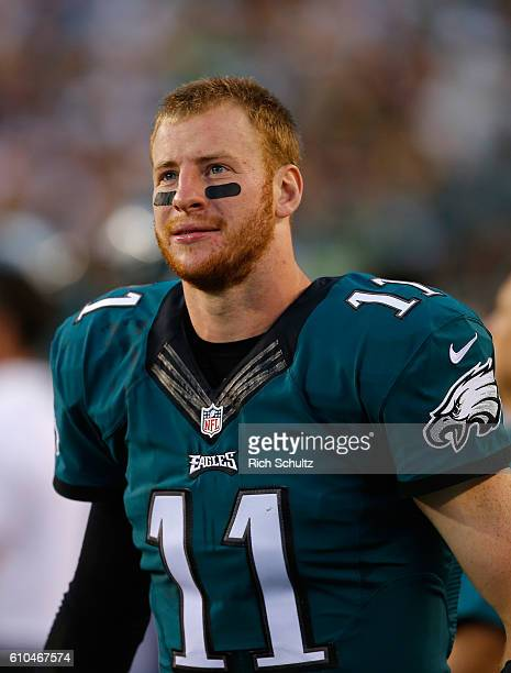 Quarterback Carson Wentz of the Philadelphia Eagles looks on in the second half against the Pittsburgh Steelers at Lincoln Financial Field on...