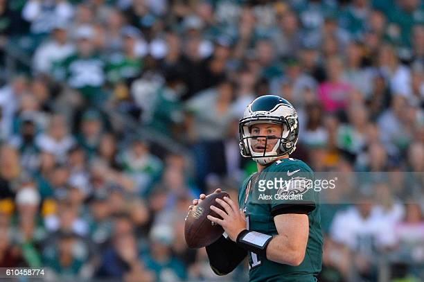 Quarterback Carson Wentz of the Philadelphia Eagles looks to pass against the Pittsburgh Steelers in the first half at Lincoln Financial Field on...