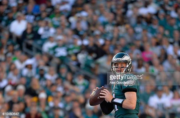 Quarterback Carson Wentz of the Philadelphia Eagles looks to pass against the Pittsburgh Steelers in the second quarter at Lincoln Financial Field on...