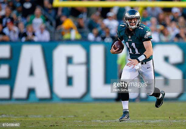 Quarterback Carson Wentz of the Philadelphia Eagles rushes the ball for a first down against the Pittsburgh Steelers at Lincoln Financial Field on...