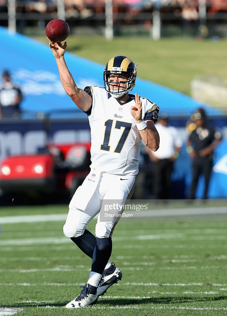 Quarterback Case Keenum #17 of the Los Angeles Rams throws a pass against the Dallas Cowboys at the Los Angeles Coliseum during preseason on August 13, 2016 in Los Angeles, California.