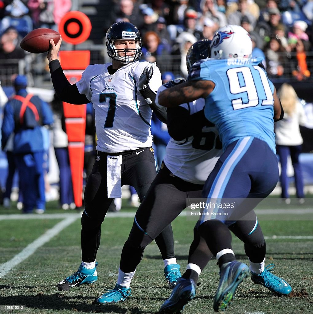 Quarterback Chad Henne #7 of the Jacksonville Jaguars drops back for a pass against the Tennessee Titans at LP Field on December 30, 2012 in Nashville, Tennessee.
