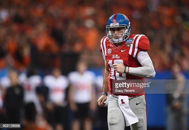 Quarterback Chad Kelly of the Mississippi Rebels is seen during the third quarter against the Oklahoma State Cowboys of the Allstate Sugar Bowl at...