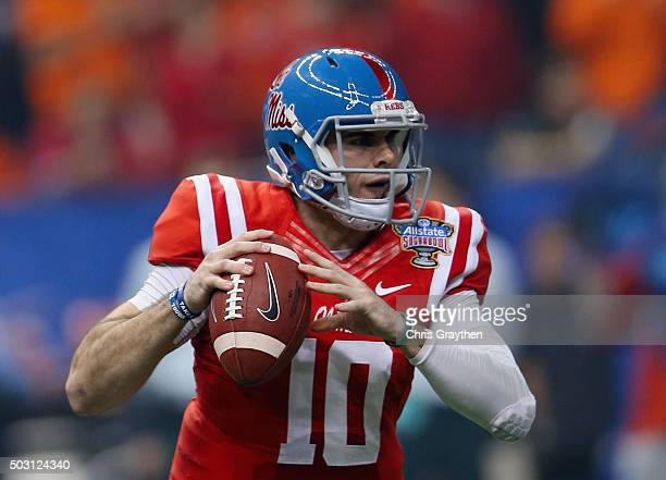 Quarterback Chad Kelly of the Mississippi Rebels looks to pass against the Oklahoma State Cowboys during the first quarter of the Allstate Sugar Bowl...