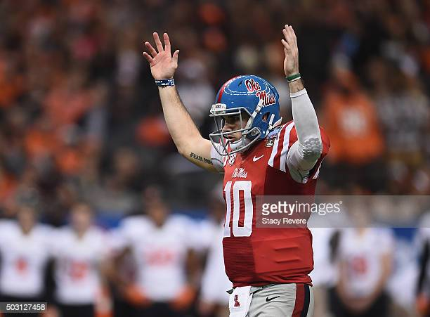 Quarterback Chad Kelly of the Mississippi Rebels reacts to a touchdown against the Oklahoma State Cowboys during the third quarter of the Allstate...