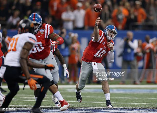 Quarterback Chad Kelly of the Mississippi Rebels throws a pass against the Oklahoma State Cowboys during the second quarter of the Allstate Sugar...