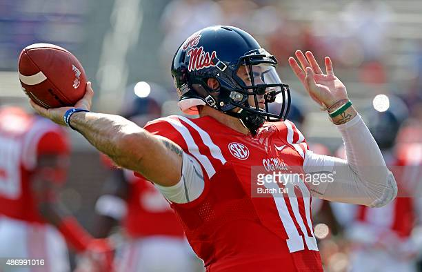 Quarterback Chad Kelly of the Mississippi Rebels warms up before a NCAA college football game against the Tennessee Martin Skyhawks at...