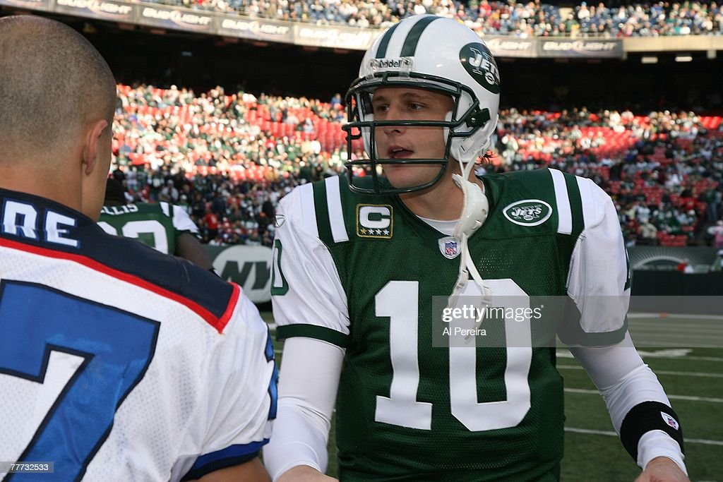 Quarterback Chad Pennington of the New York Jets captains against the Buffalo Bills at Giants Stadium The Meadowlands East Rutherford New Jersey on...