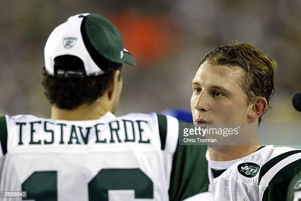 Quarterback Chad Pennington talks with quarterback Vinny Testaverde of the New York Jets against the Philadelphia Eagles October 26 2003 at the...