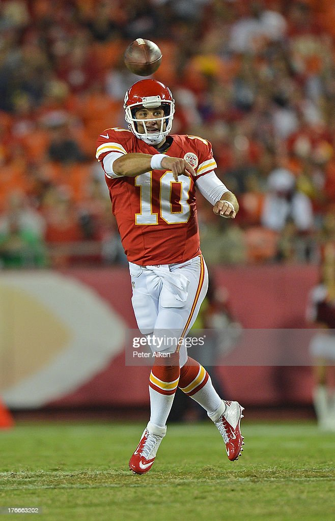 Quarterback <a gi-track='captionPersonalityLinkClicked' href=/galleries/search?phrase=Chase+Daniel&family=editorial&specificpeople=3977274 ng-click='$event.stopPropagation()'>Chase Daniel</a> #10 of the Kansas City Chiefs throws a pass down field against the San Francisco 49ers during the second half on August 16, 2013 at Arrowhead Stadium in Kansas City, Missouri. The 49ers won 15-13.