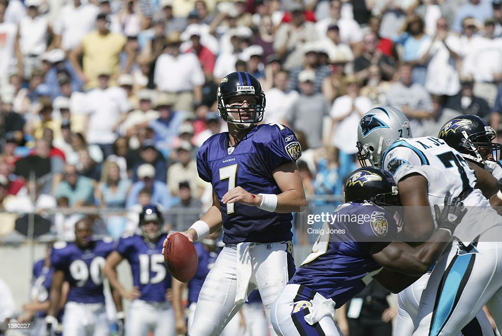 Quarterback Chris Redman #7 of the Baltimore Ravens moves back to pass the ball during the game against the Carolina Panthers on September 8, 2002 at Ericsson Stadium in Charlotte, North Carolina. The Panthers defeated the Ravens 10-7.