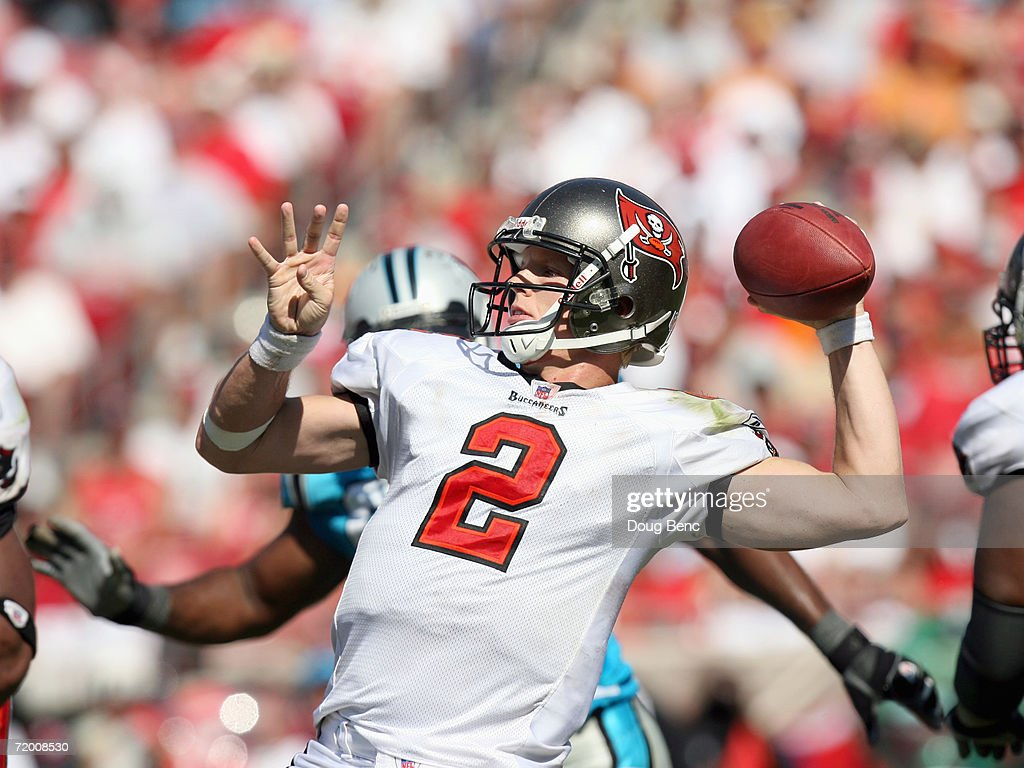 Quarterback Chris Simms #2 of the Tampa Bay Buccaneers passes the ball during the game against the Carolina Panthers at Raymond James Stadium on September 24, 2006 in Tampa, Florida. The Panthers defeated the Buccaneers 26-24.