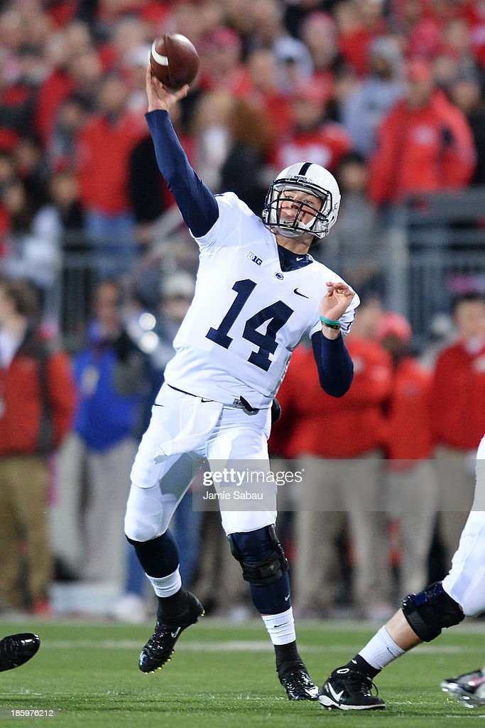 Quarterback Christian Hackenberg #14 of the Penn State Nittany Lions attempts a pass in the first quarter against the Ohio State Buckeyes at Ohio Stadium on October 26, 2013 in Columbus, Ohio.