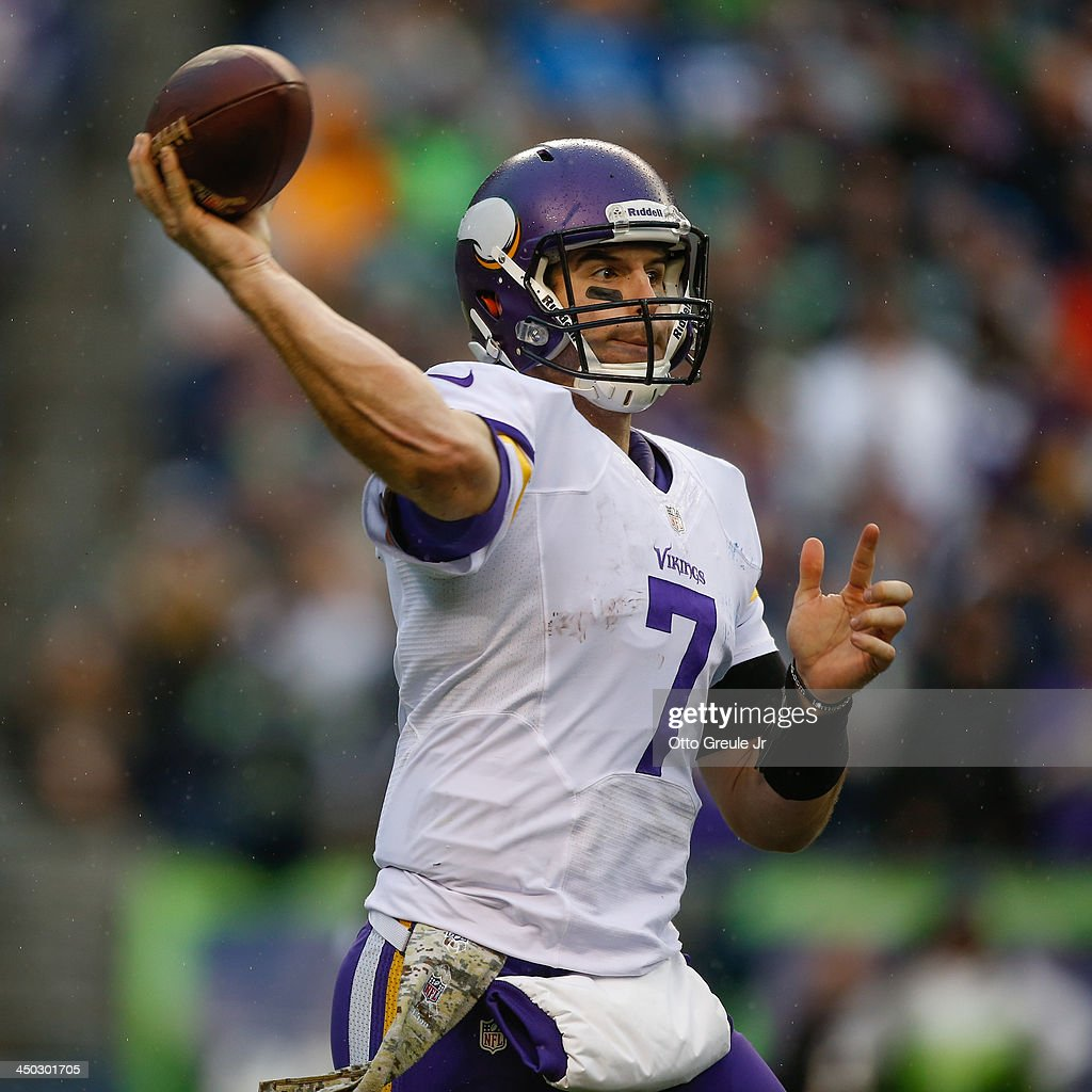 Quarterback <a gi-track='captionPersonalityLinkClicked' href=/galleries/search?phrase=Christian+Ponder&family=editorial&specificpeople=4505733 ng-click='$event.stopPropagation()'>Christian Ponder</a> #7 of the Minnesota Vikings passes against the Seattle Seahawks at CenturyLink Field on November 17, 2013 in Seattle, Washington. The Seahawks defeated the Vikings 41-20.
