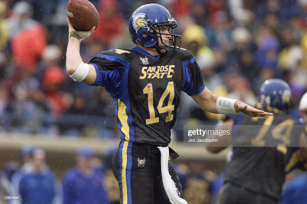 Quarterback Clint Carlson of the San Jose State Spartans passes the ball during the NCAA game against the Stanford Cardinal at Spartan Stadium in San...