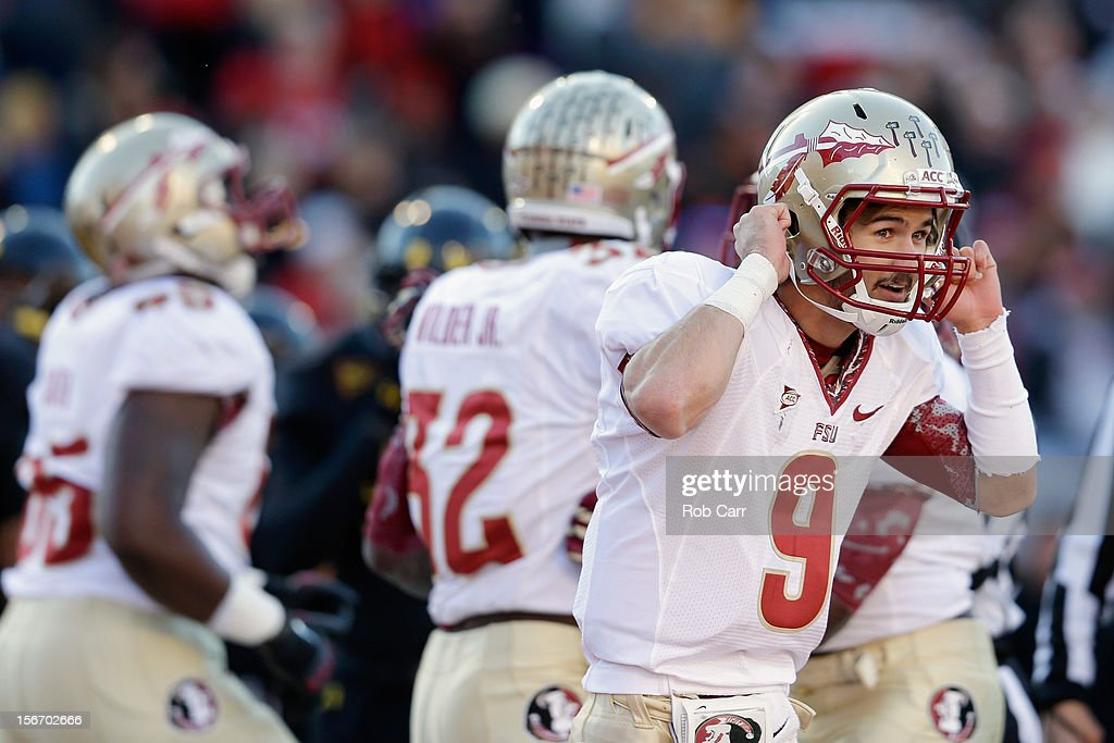 Quarterback Clint Trickett #9 of the Florida State Seminoles celebrates after the Seminoles scored a fourth quarter touchdown against the Maryland Terrapins at Byrd Stadium on November 17, 2012 in College Park, Maryland.