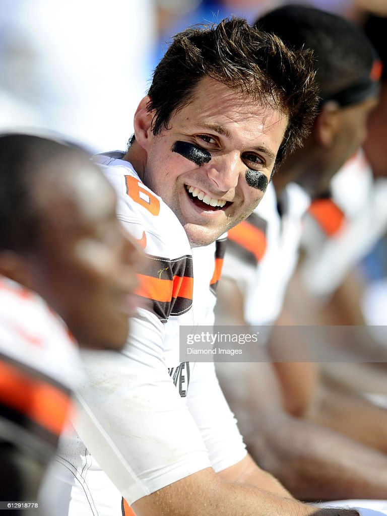 Quarterback Cody Kessler #6 of the Cleveland Browns laughs as he sits on the sideline during a game against the Washington Redskins on October 2, 2016 at FedEx Field in Landover, Maryland. Washington won 31-20.