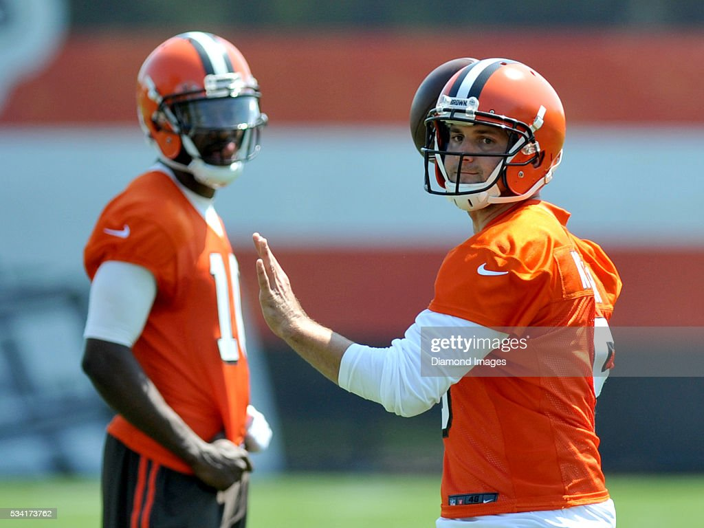 Quarterback <a gi-track='captionPersonalityLinkClicked' href=/galleries/search?phrase=Cody+Kessler&family=editorial&specificpeople=9870723 ng-click='$event.stopPropagation()'>Cody Kessler</a> #5 of the Cleveland Browns throws a pass during an OTA practice on May 25, 2016 at the Cleveland Browns training facility in Berea, Ohio.