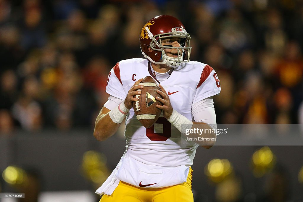 Quarterback <a gi-track='captionPersonalityLinkClicked' href=/galleries/search?phrase=Cody+Kessler&family=editorial&specificpeople=9870723 ng-click='$event.stopPropagation()'>Cody Kessler</a> #6 of the USC Trojans drops back to pass during the first quarter against the Colorado Buffaloes at Folsom Field on November 13, 2015 in Boulder, Colorado.