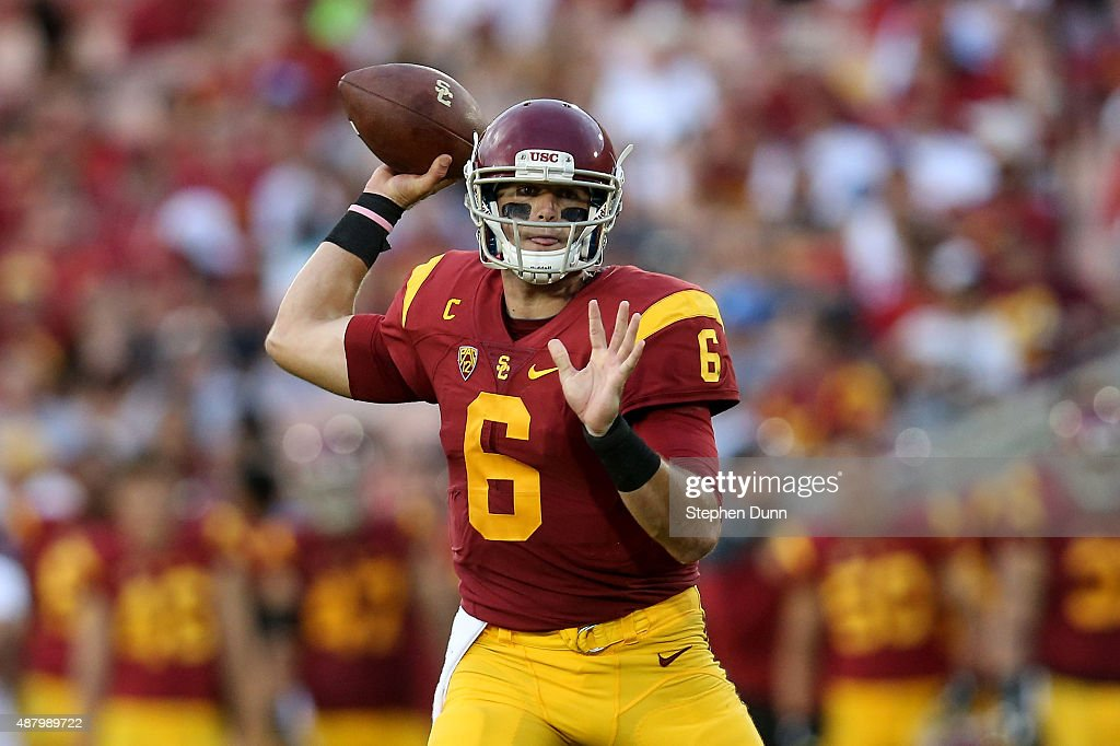 Quarterback <a gi-track='captionPersonalityLinkClicked' href=/galleries/search?phrase=Cody+Kessler&family=editorial&specificpeople=9870723 ng-click='$event.stopPropagation()'>Cody Kessler</a> #6 of the USC Trojans rolls out in the game against the Idaho Vandals at Los Angeles Memorial Coliseum on September 12, 2015 in Los Angeles, California.