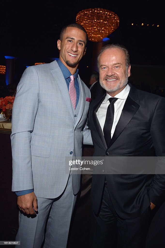 NFL quarterback Colin Kaepernick (L) and actor Kelsey Grammer attend the 55th Annual GRAMMY Awards Pre-GRAMMY Gala and Salute to Industry Icons honoring L.A. Reid held at The Beverly Hilton on February 9, 2013 in Los Angeles, California.