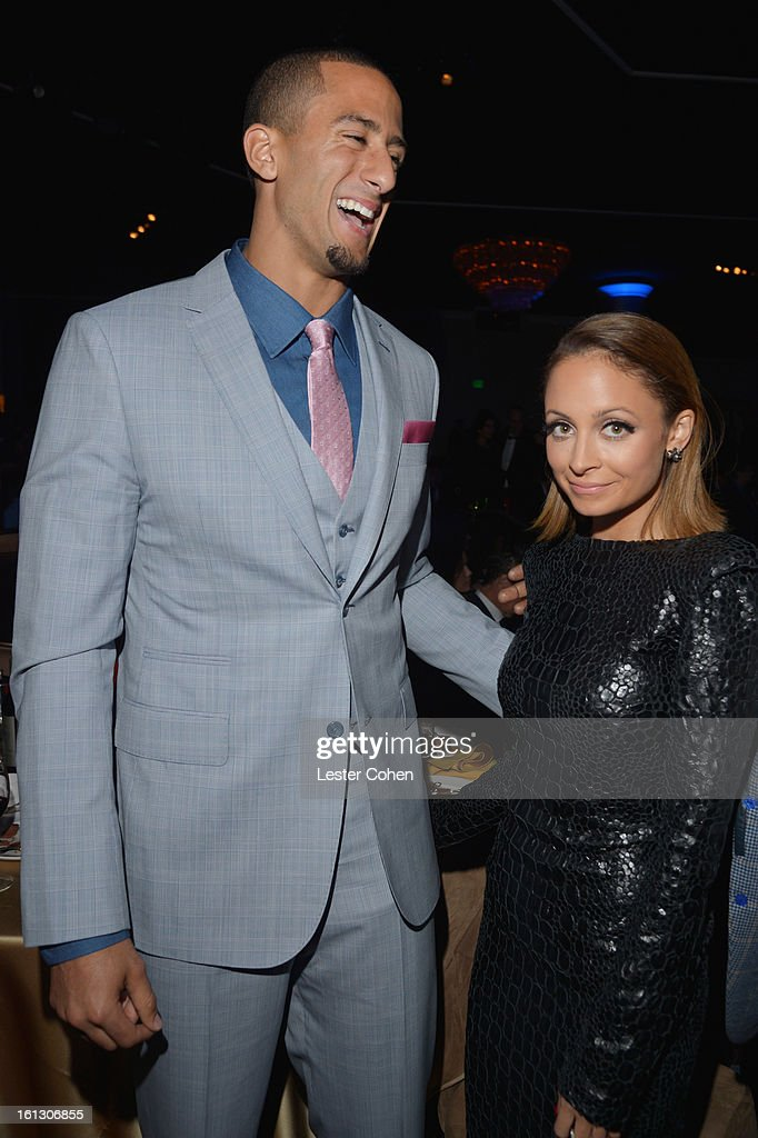 NFL quarterback Colin Kaepernick and designer Nicole Richie attend the 55th Annual GRAMMY Awards Pre-GRAMMY Gala and Salute to Industry Icons honoring L.A. Reid held at The Beverly Hilton on February 9, 2013 in Los Angeles, California.